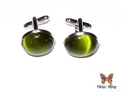Olive Green Fiber Optic Cats Eye Cufflinks