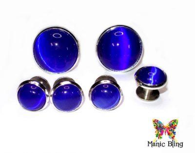 Blue Fiber Optic Cats Eye Tuxedo Studs and Cufflink Set [category]