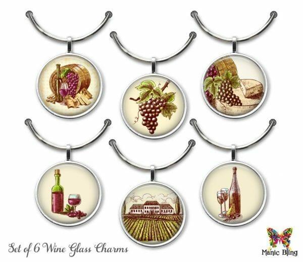 Wine Glass Charm Set – Vintage Art