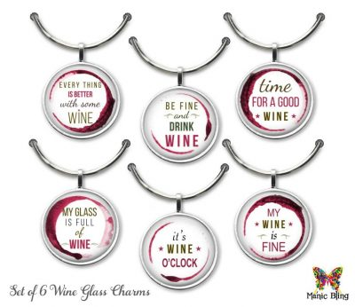 Wine Glass Charm Set – Wine Fun Glass Photo Jewelry
