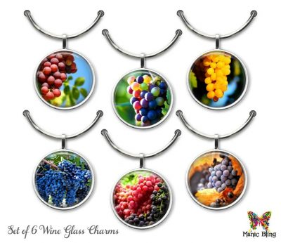 Wine Glass Charm Set – Grapes Glass Photo Jewelry