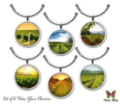 Wine Glass Charm Set – Wine Country Glass Photo Jewelry