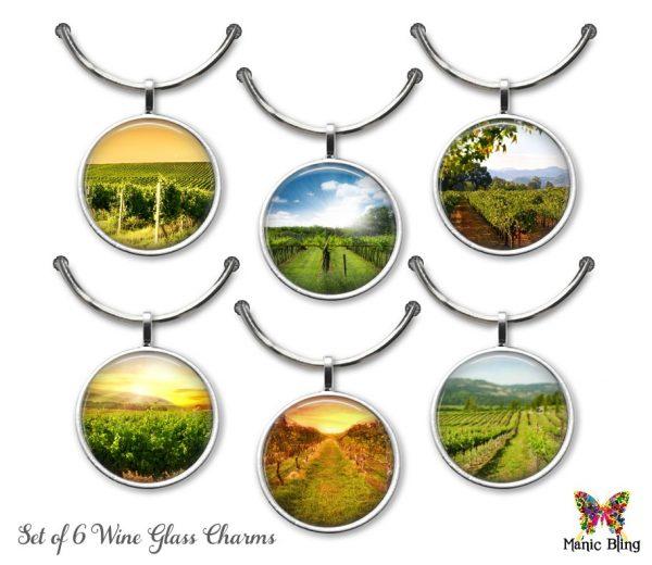 Wine Glass Charm Set – Wine Country Glass Photo Jewelry