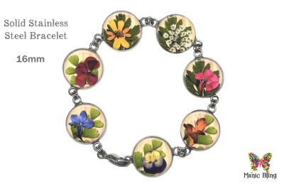 Pressed Flowers Glass Photo Bracelet