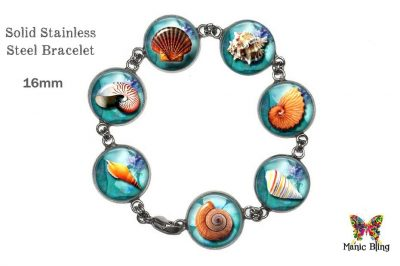 Beach Shells Glass Photo Ocean Bracelet
