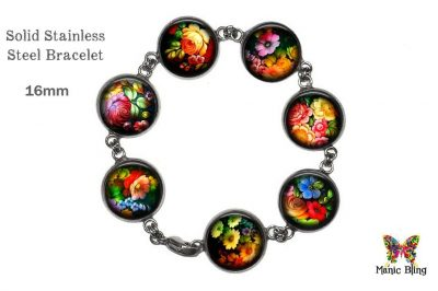 Black Zhostovo Floral Glass Photo Bracelet
