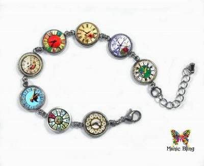 Vintage Clocks Glass Photo Bracelet