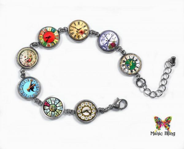 Vintage Clocks Glass Photo Bracelet