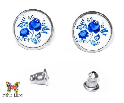 Blue Rose Stud Earrings