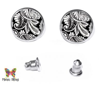 Black Paisley Stud Earrings Earrings