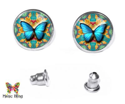 Aqua Butterfly Stud Earrings