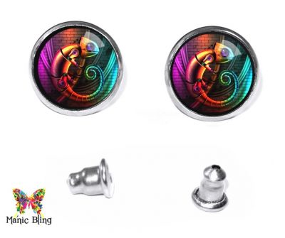 Steampunk Chameleon Stud Earrings Post Earrings