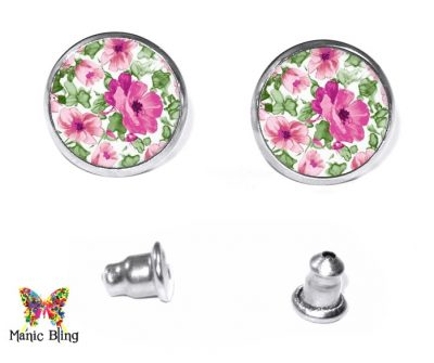 Pink Flowers Stud Earrings Earrings