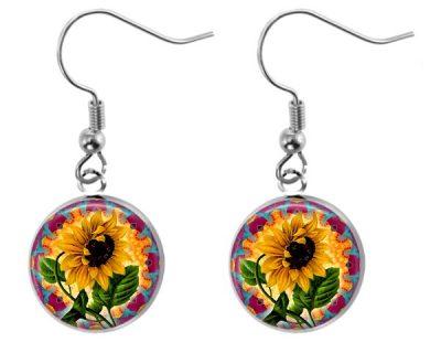 Vintage Sunflower Earrings Dangle Earrings