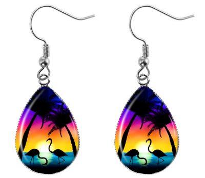 Flamingo Teardrop Earrings Dangle Earrings