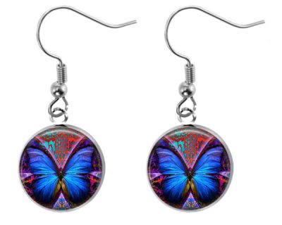 Blue Butterfly Earrings Dangle Earrings