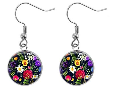 Black Wildflower Earrings Dangle Earrings