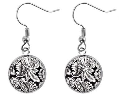 Black White Paisley Earrings