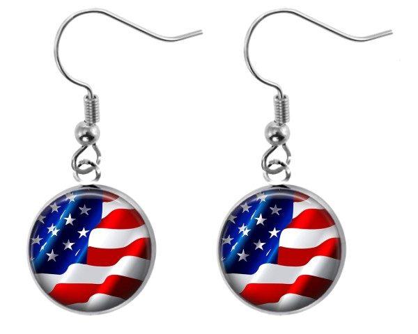 American Flag Earrings Dangle Earrings