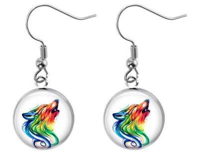 Wolf Rainbow Earrings Dangle Earrings