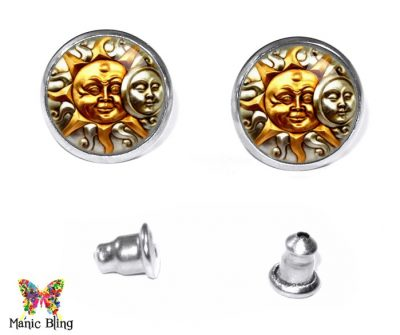 Sun Moon Stud Earrings Earrings