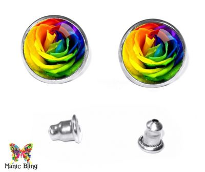 Rainbow Rose Stud Earrings Earrings