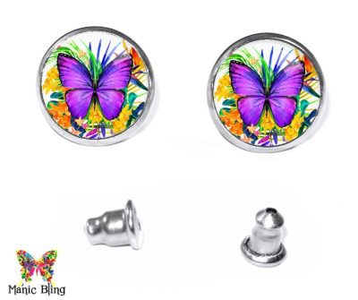 Purple Butterfly Stud Earrings Earrings