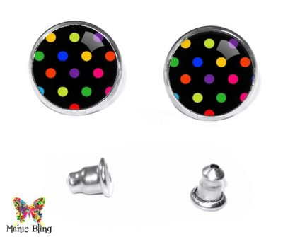 Black Dots Stud Earrings