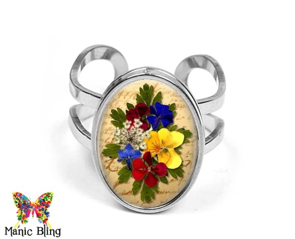 Dried Flowers Oval Ring Rings