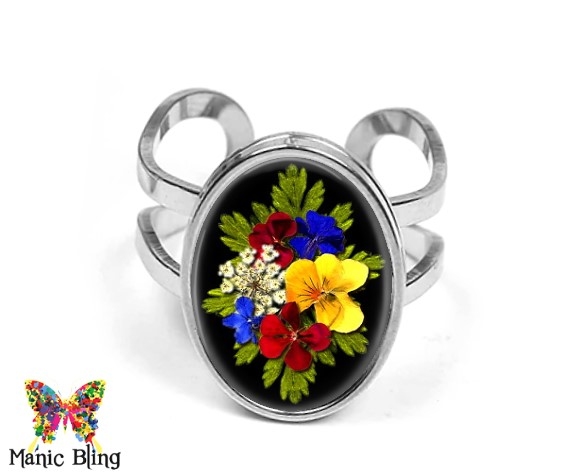 Dried Flowers Black Oval Ring