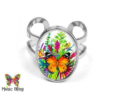 Tropical Butterfly Oval Ring Rings