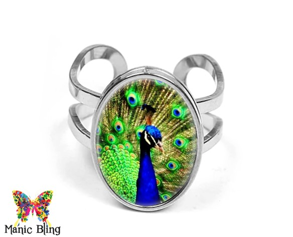 Peacock Oval Ring Rings