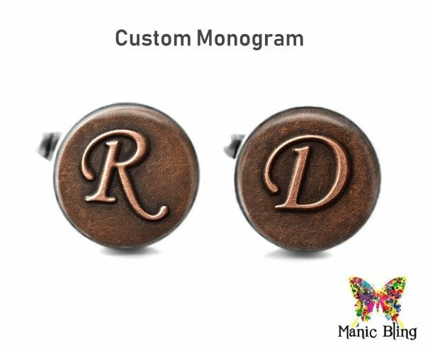 Copper Initial Glass Cufflinks
