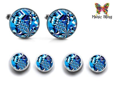Blue Abstract Cufflink Set Cufflinks & Tie Tacks