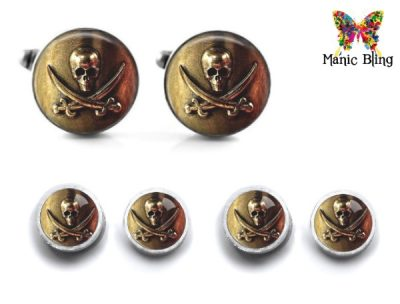 Pirate Skull Cufflink Set Cufflinks & Tie Tacks