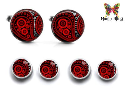 Red Paisley Cufflink Set Cufflinks & Tie Tacks