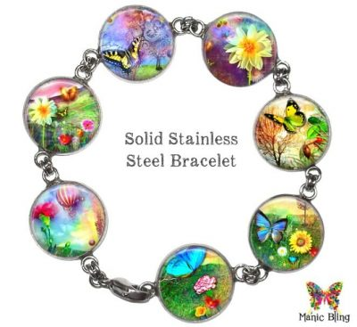 Fantasy Garden Glass Photo Bracelet