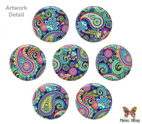 Colorful Paisley Glass Photo Bracelet Bracelets