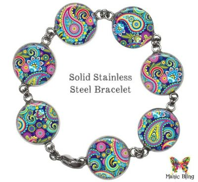 Colorful Paisley Glass Photo Bracelet