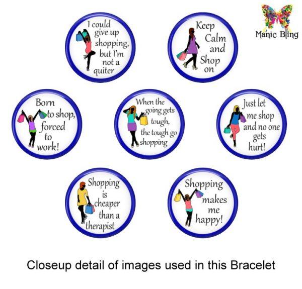 I Love Shopping Glass Photo Bracelet Bracelets