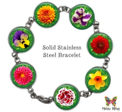 Colorful Spring Flowers Glass Photo Bracelet