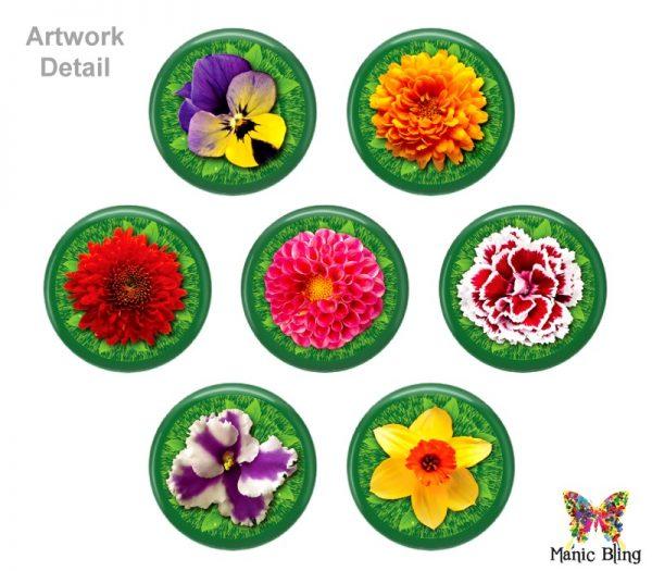 Colorful Spring Flowers Glass Photo Bracelet Bracelets
