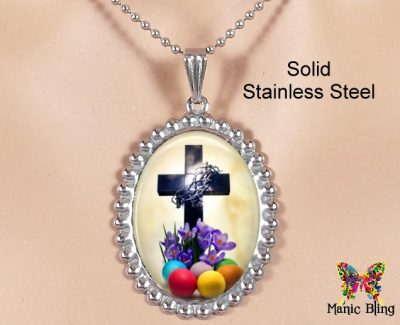 Easter Cross Oval Pendant