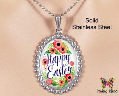Happy Easter Oval Pendant