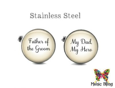 Father of the Groom Cufflinks Tan Wedding Cufflinks & Tuxedo Studs