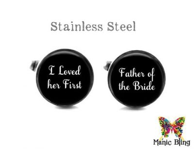 I Loved Her First Cufflinks Wedding Cufflinks & Tuxedo Studs