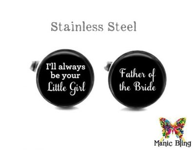 Father of the Bride Cufflinks Black Wedding Cufflinks & Tuxedo Studs