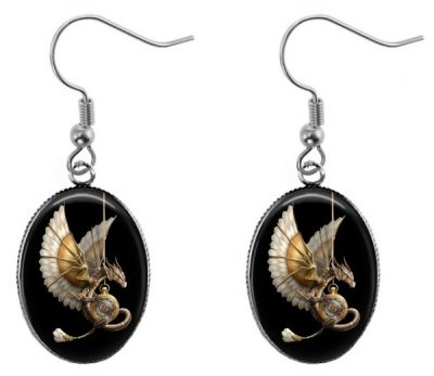 Steampunk Dragon Black Earrings Dangle Earrings