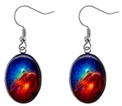 Space Nebula Glass Photo Oval Earrings Dangle Earrings