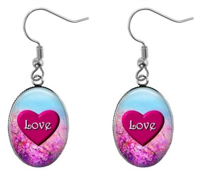 Love Heart Oval Earrings Dangle Earrings